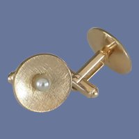 Speidel Gold Tone Disc with Faux Pearl Cuff Links Cufflinks