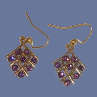 Purple Rhinestone Gold Tone Pierced Earrings