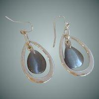Silver Tone Teardrop Dangle Pierced Earrings