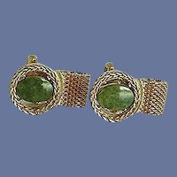 Green Jade Gold Tone Wrap Around Cuff Links Cufflinks