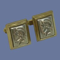 Allan Gold and Silver Tone Centurion Roman Cuff Links Cufflinks