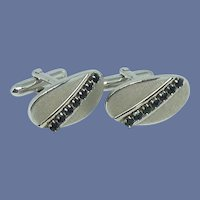 Swank Brush Silver Tone with Black Rhinestone Cufflinks Cuff Links