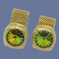 Volcano Watermelon Rhinestone Gold Tone Wrap Around Cufflink Cuff Links