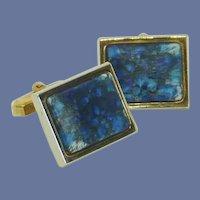 Dark Blue Stone Gold Tone Cufflinks Cuff Links