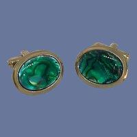 Oval Gold Tone Green Faux Abalone Cufflinks Cuff Links