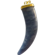 Blue Lapis Tiger Tooth Pendant