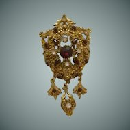 Florenza Red Rhinestone Faux Opal Pin /Pendant