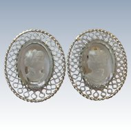 Cameo Clip-On Whiting and Davis Co. Earrings Mid-Century