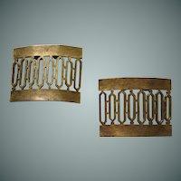 Faux Brass Metal Design Shoe Clips