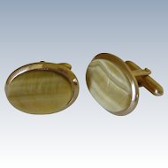 Blonde Tiger Eye Stone Gold Tone Cuff Links Cufflinks