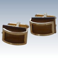 Tiger Eye Polished Stone Gold Tone Cufflinks Cuff Links