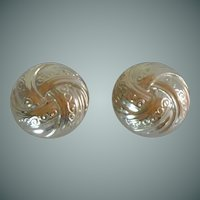 Silver Tone Round Swirl Clip On Earrings