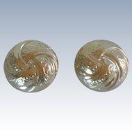 Silver Tone Round Swirl Clip On Earrings