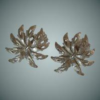 Silver Tone Leaf Clip on Earrings
