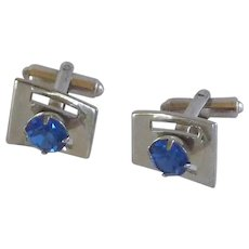 Blue Rhinestone Silver Tone Oxford Cufflink Cuff Links