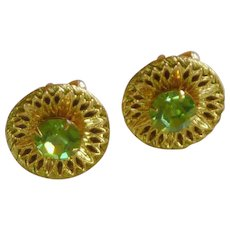 Green Faceted Rhinestones Gold Tone Filigree Cufflinks Cuff Link
