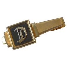 Gold Tone Initial D on Black Tie Bar Clip