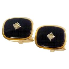 Foster Classic Look Gold Tone Black with Diamond Cufflinks Cuff Links