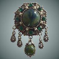Green Rhinestone in Silver Tone Pin Pendant