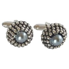 Silver Tone Dome with Blue Grey Center Cufflinks Cuff Links