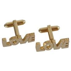 LOVE Gold Tone Dante Cuff Links Cufflinks