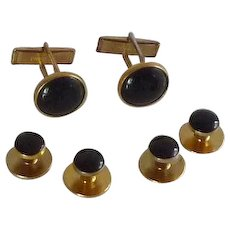 Pioneer Black and Gold Tone Cufflinks and Tuxedo Studs