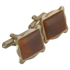 Gold Tone Brown Faux Tiger Eye Stone Cufflink Cuff Links