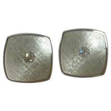 Anson Silver Tone Texture Diamond Rhinestone Cufflinks Cuff Link