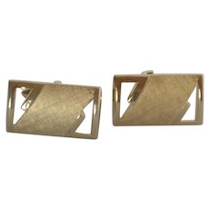 Swank Cut Out Gold Tone Brushed Cufflinks Cuff Links