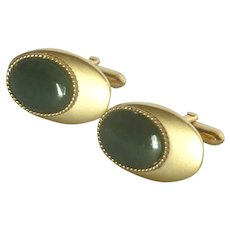 Oval Brushed Gold Tone with Green Stone Cufflinks Cuff Links
