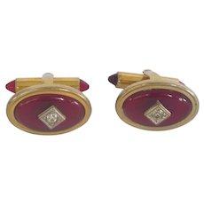 Flex Let Quality Red Gold Tone Cuff Links Cufflinks