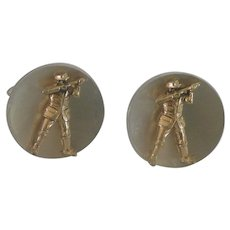 Gold Tone and Silver Tone Duck Hunter Cufflinks Cuff Links