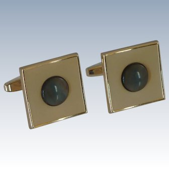 Sarah Coventry Gold Tone Mother of Pearl Cufflinks Cuff Links