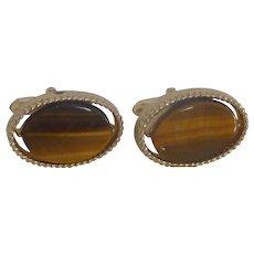 Swank Gold Tone Tiger Eye Stone Oval Cuff Links Cufflinks