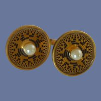 Gold Tone Aztec Look with Faux Pearl Cufflinks Cuff Links