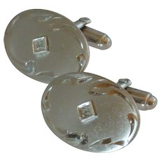 Anson Silver Toned Oval Cuff Links Cufflinks