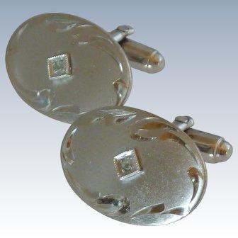 Anson Silver Toned Oval Cuff Links Cufflinks