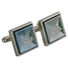 Square Intaglio Black / Silver Tone Cufflinks Cuff Links
