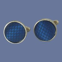 Blue Button Cloth Fabric Silver Tone Cufflinks Cuff Links