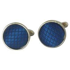Blue Button Cloth Fabric Silver Tone Cufflinks Cuff Links