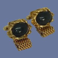 Black Stone Gold Tone Wrap Around Cuff Links Cufflinks
