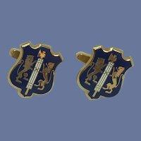 Swank Gold Tone Blue Shield Cuff Links Cufflinks