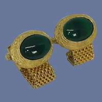 Dark Green Stone Gold Tone Wrap Around Cuff Links Cufflinks