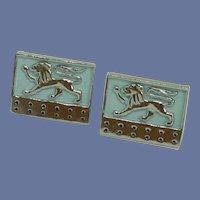 Light Aqua Blue Silver Tone Lion Shield Cuff Links Cufflinks