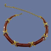 Trifari Red and Gold Tone Choker Necklace