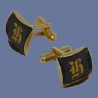 Gold Tone H Initial on Black Cufflink Cuff Link