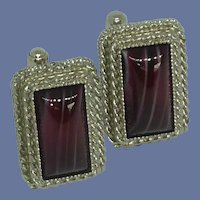 Maroon Banded Agate Stone Silver Tone Cuff Links