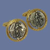 Crete Coin Silver and Gold Tone Cuff Links Cufflinks