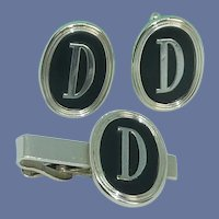 Initial D Silver Tone Swank Cufflinks and Tie Bar