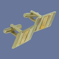 Parallelogram Gold Tone Mother of Pearl Cuff Links Cufflinks